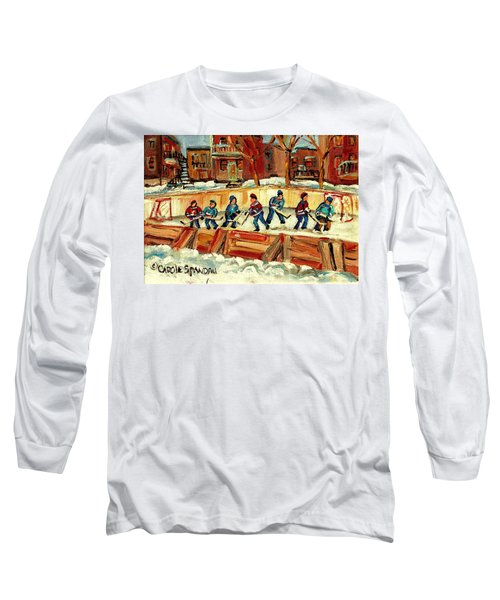 Hockey Rinks In Montreal Long Sleeve T-Shirt by Carole Spandau