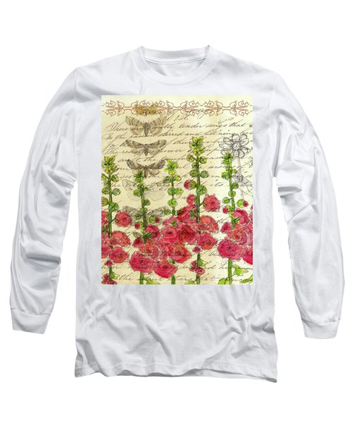 Long Sleeve T-Shirt featuring the drawing Hollyhocks And Butterflies  by Cathie Richardson