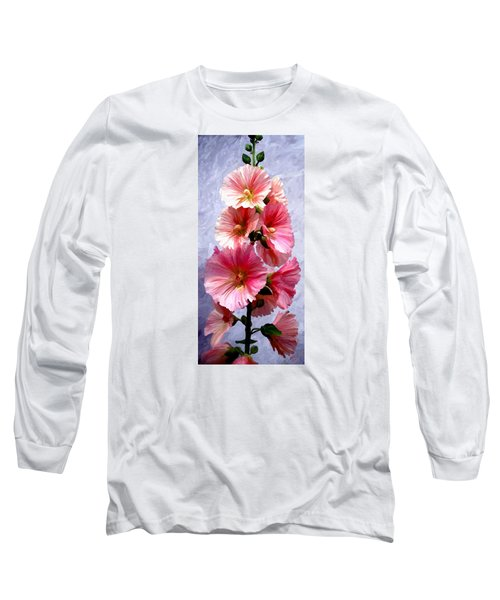 Long Sleeve T-Shirt featuring the painting Hollyhocks by James Shepherd