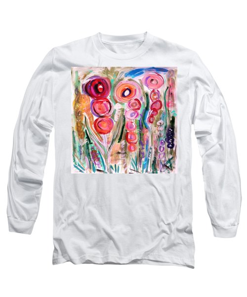 Long Sleeve T-Shirt featuring the painting Hollyhocks Of The Garden by Mary Carol Williams