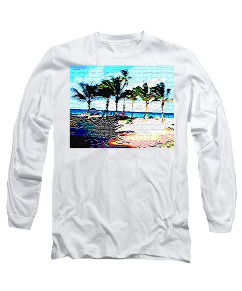 Hollywood Beach Fla Digital Long Sleeve T-Shirt by Dick Sauer
