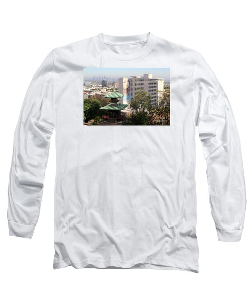 Hollywood View From Japanese Gardens Long Sleeve T-Shirt by Cheryl Del Toro