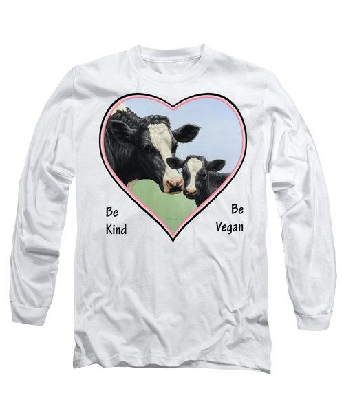Holstein Cow And Calf Pink Heart Vegan Long Sleeve T-Shirt