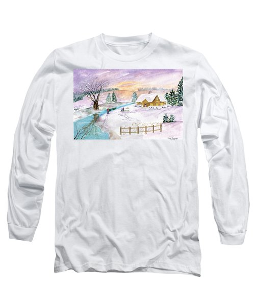 Long Sleeve T-Shirt featuring the painting Home For Christmas by Melly Terpening