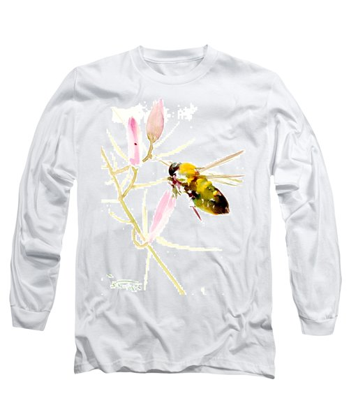 Honey Bee And Pink Flower Long Sleeve T-Shirt
