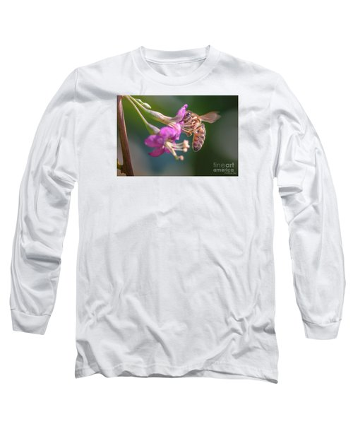 Honey Bee On Goji Berry Flower Long Sleeve T-Shirt