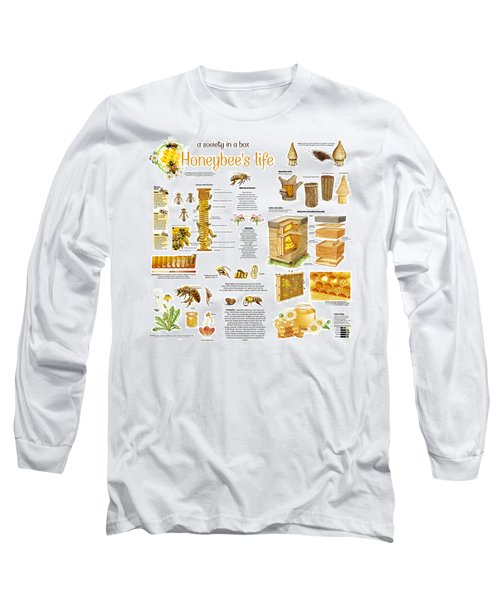Long Sleeve T-Shirt featuring the drawing Honey Bees Infographic by Gina Dsgn