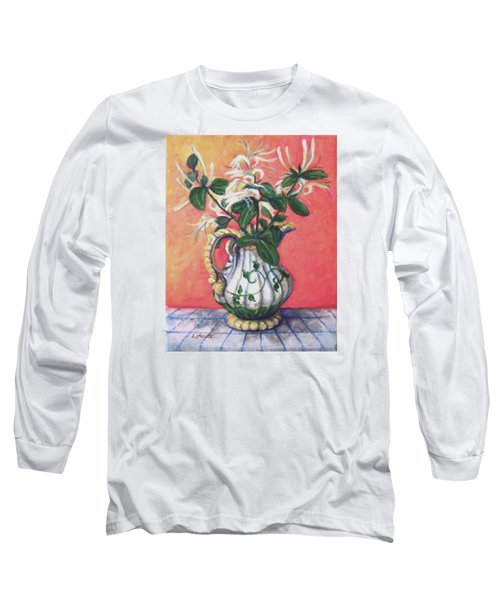 Long Sleeve T-Shirt featuring the painting Honeysuckle by Laura Aceto