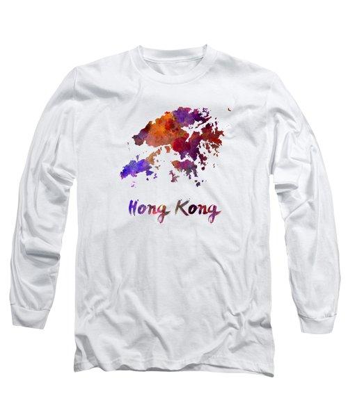 Hong Kong In Watercolor Long Sleeve T-Shirt by Pablo Romero
