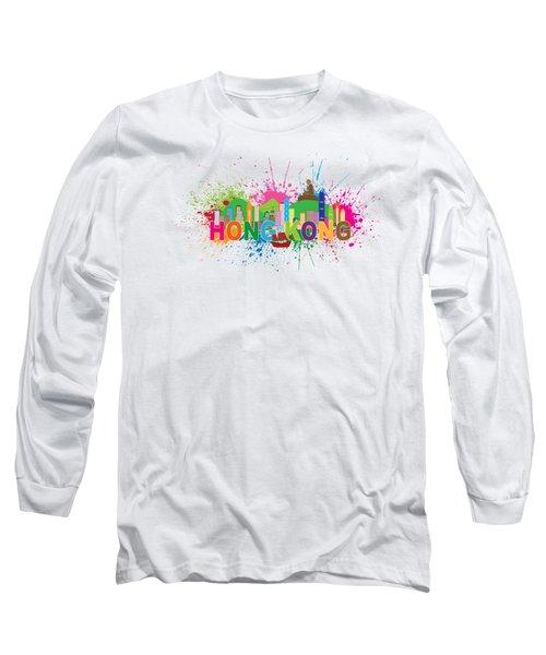 Hong Kong Skyline Paint Splatter Text Illustration Long Sleeve T-Shirt