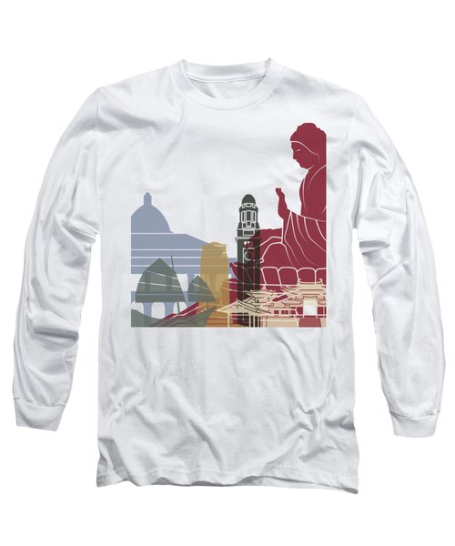 Hong Kong Skyline Poster Long Sleeve T-Shirt by Pablo Romero