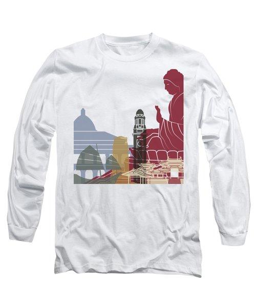 Hong Kong Skyline Poster Long Sleeve T-Shirt