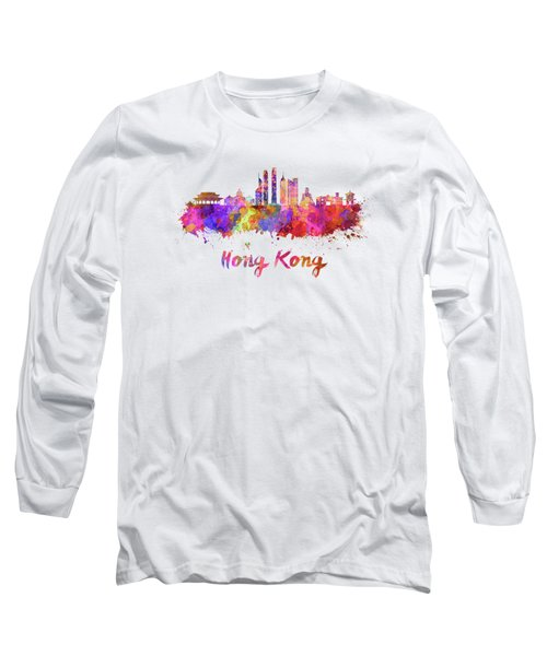 Hong Kong V2 Skyline In Watercolor Long Sleeve T-Shirt by Pablo Romero