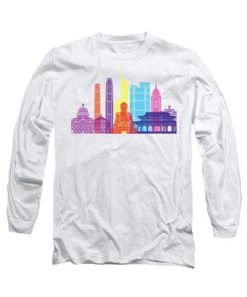 Hong Kong V2 Skyline Pop Long Sleeve T-Shirt by Pablo Romero