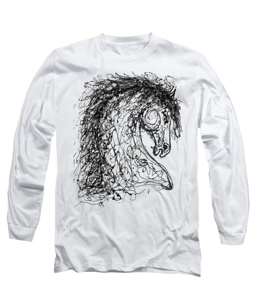 Horse  Dripped Abstract Pollock Style On #fineartamerica Long Sleeve T-Shirt