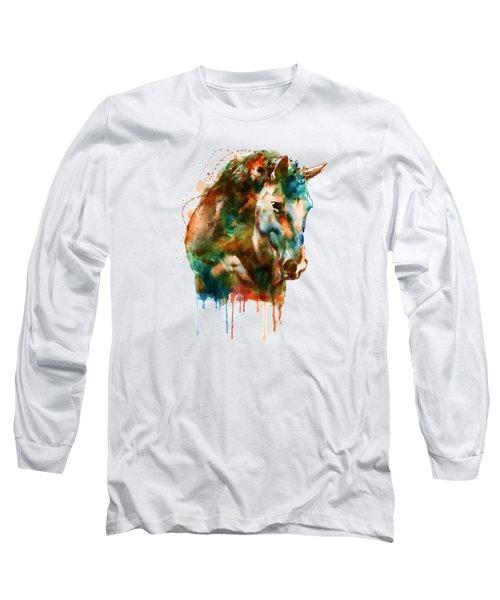 Horse Head Watercolor Long Sleeve T-Shirt