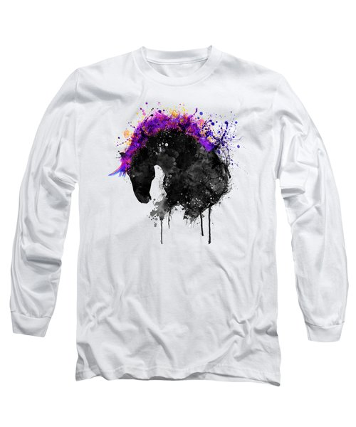 Horse Head Watercolor Silhouette Long Sleeve T-Shirt