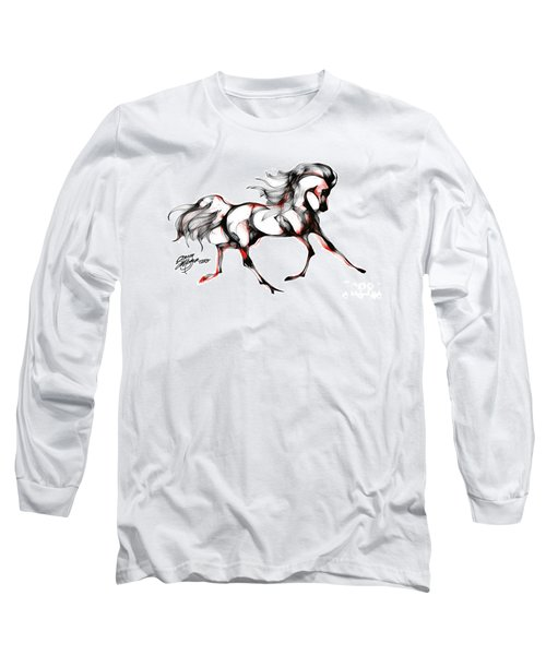 Horse In Extended Trot Long Sleeve T-Shirt by Stacey Mayer