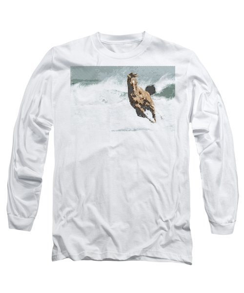 Horse In The Storm - Parallel Hatching Long Sleeve T-Shirt