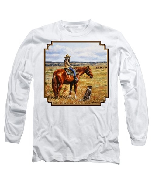 Horse Painting - Waiting For Dad Long Sleeve T-Shirt by Crista Forest