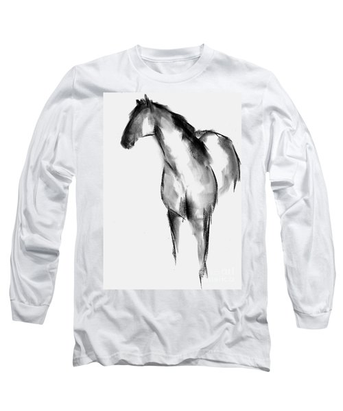 Long Sleeve T-Shirt featuring the drawing Horse Sketch by Frances Marino