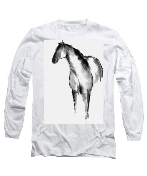 Horse Sketch Long Sleeve T-Shirt by Frances Marino