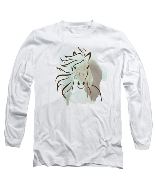 Horse Wall Art - Elegant Bright Pastel Color Animals Long Sleeve T-Shirt by Wall Art Prints