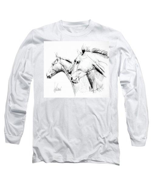 Horses - Ink Drawing Long Sleeve T-Shirt