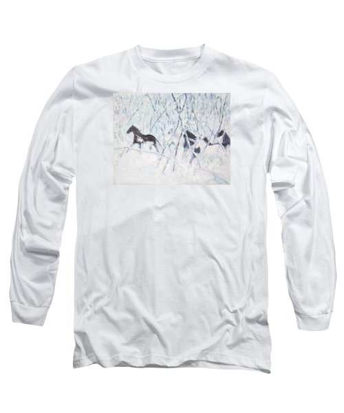 Horses Running In Ice And Snow Long Sleeve T-Shirt