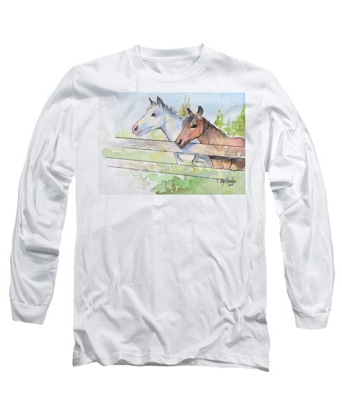 Horses Watercolor Sketch Long Sleeve T-Shirt by Olga Shvartsur