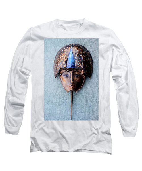 Horseshoe Crab Mask Peacock Helmet Long Sleeve T-Shirt by Roger Swezey