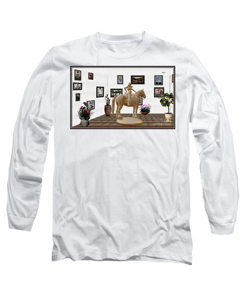 Virtual Exhibition -statue Of Horsewoman 12 Long Sleeve T-Shirt by Pemaro
