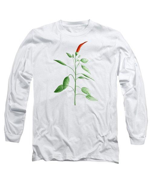 Hot Chili Pepper Plant Botanical Illustration Long Sleeve T-Shirt