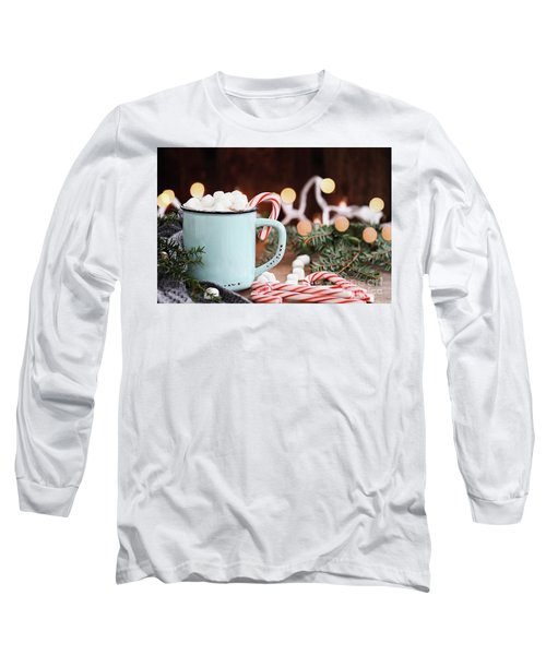 Long Sleeve T-Shirt featuring the photograph Hot Cocoa With Marshmallows And Candy Canes by Stephanie Frey