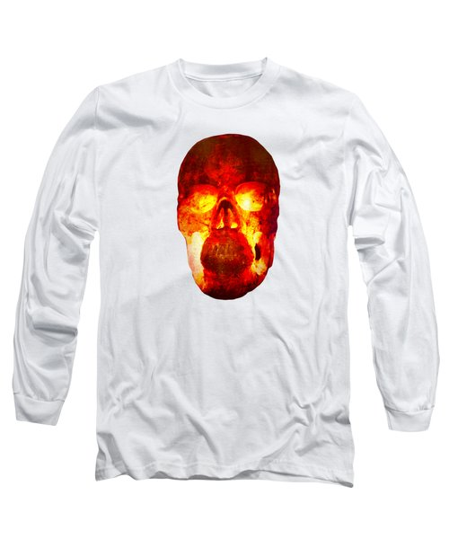 Hot Headed Skull On Transparent Background Long Sleeve T-Shirt