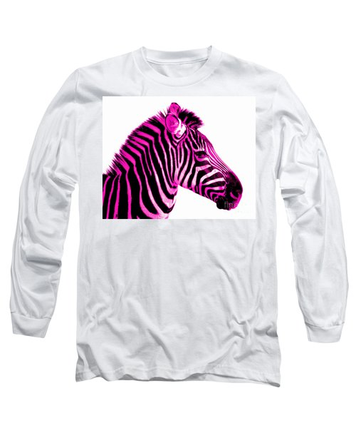 Hot Pink Zebra Long Sleeve T-Shirt by Rebecca Margraf