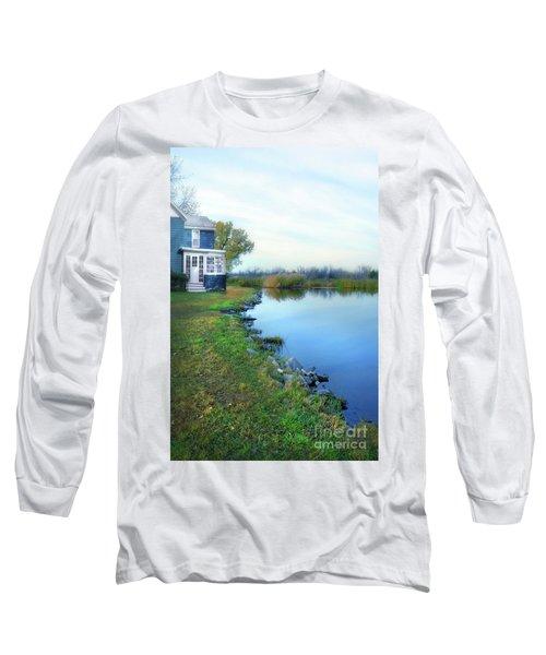 Long Sleeve T-Shirt featuring the photograph House On A Lake by Jill Battaglia