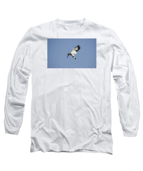 Hovering Of White Pied Kingfisher Long Sleeve T-Shirt by Manjot Singh Sachdeva
