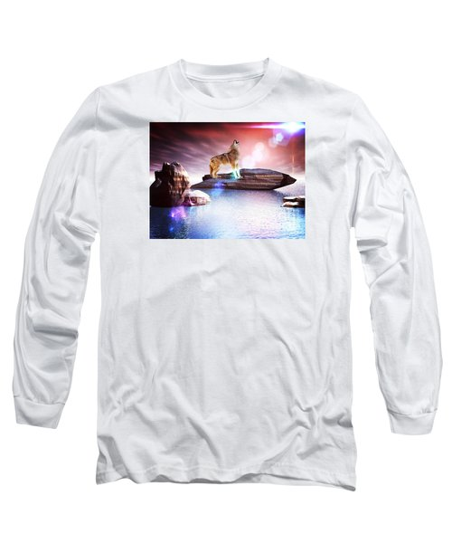 Long Sleeve T-Shirt featuring the digital art Howling Wolf Lomo by Jacqueline Lloyd