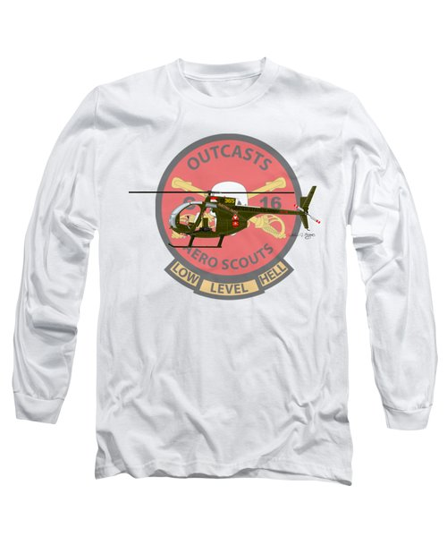 Long Sleeve T-Shirt featuring the digital art Hughes Oh-6a Electric Olive II by Arthur Eggers