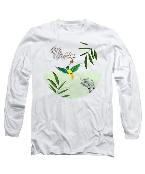 Humming Bird - Circle/clear Background Long Sleeve T-Shirt