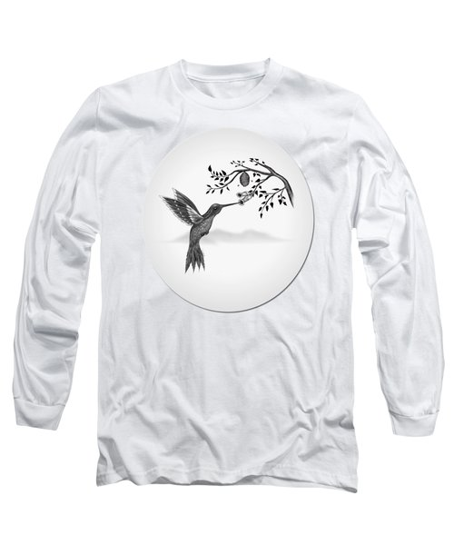 Hummingbird On Oval Long Sleeve T-Shirt