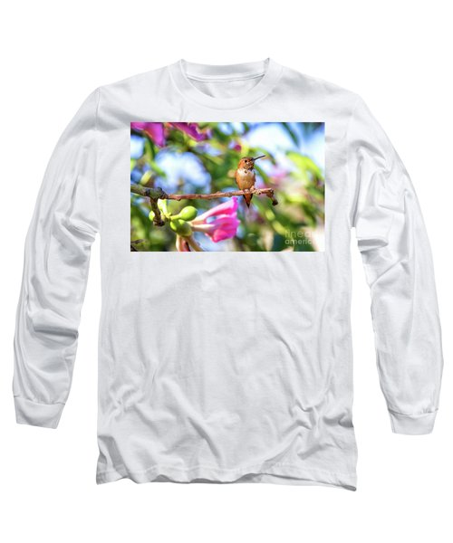 Humming Bird Pink Flowers Long Sleeve T-Shirt by Stephanie Hayes