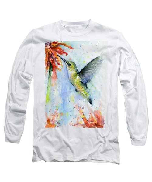 Hummingbird And Red Flower Watercolor Long Sleeve T-Shirt