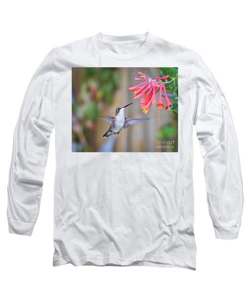 Hummingbird Happiness 2 Long Sleeve T-Shirt by Kerri Farley