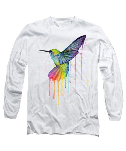 Hummingbird Of Watercolor Rainbow Long Sleeve T-Shirt by Olga Shvartsur