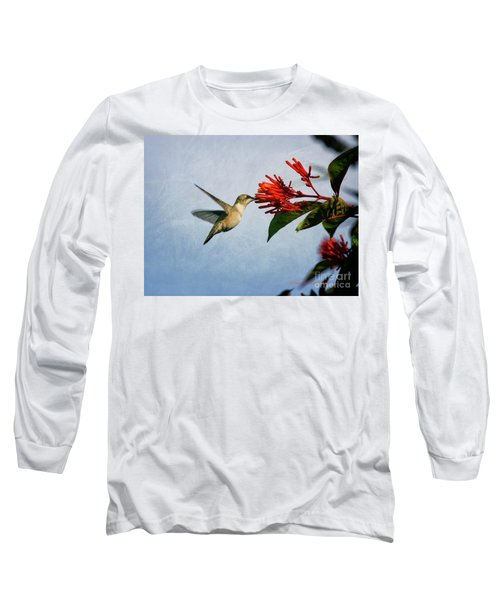 Hummingbird Red Flowers Long Sleeve T-Shirt
