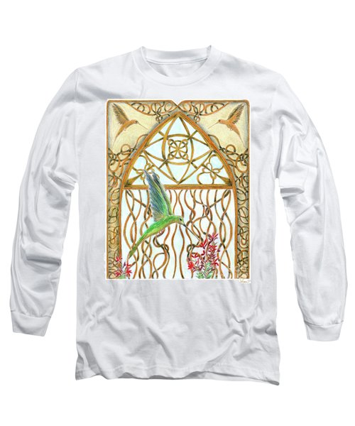 Hummingbird Sanctuary Long Sleeve T-Shirt by Lise Winne