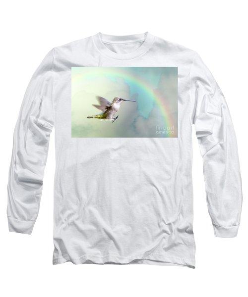 Long Sleeve T-Shirt featuring the photograph Hummingbird Under Rainbow by Bonnie Barry