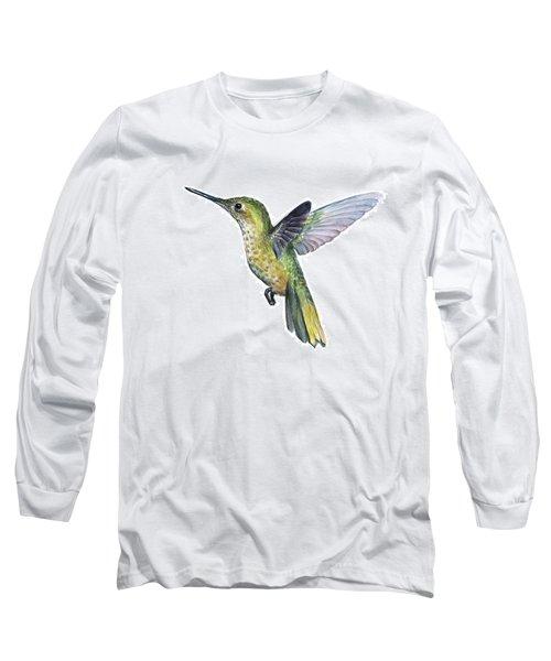 Hummingbird Watercolor Illustration Long Sleeve T-Shirt
